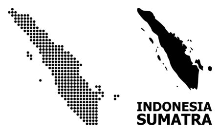 Pixelated map of Sumatra Island composition and solid illustration. Vector map of Sumatra Island composition of spheric points on a white background.