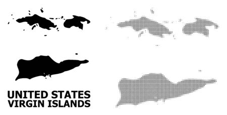 Halftone and solid map of American Virgin Islands composition illustration. Vector map of American Virgin Islands composition of x-cross elements on a white background.