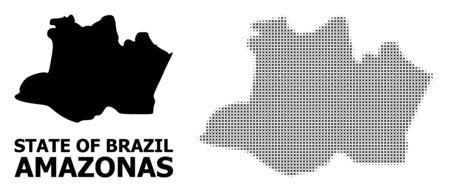Halftone and solid map of Amazonas State composition illustration. Vector map of Amazonas State composition of x-cross elements on a white background.