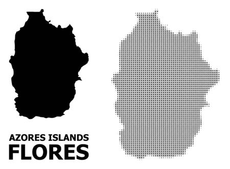 Halftone and solid map of Azores - Flores Island composition illustration. Vector map of Azores - Flores Island composition of x-cross spots on a white background.