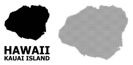 Halftone and solid map of Kauai Island composition illustration. Vector map of Kauai Island composition of x-cross spots on a white background. Abstract flat territory scheme for political purposes. Illustration
