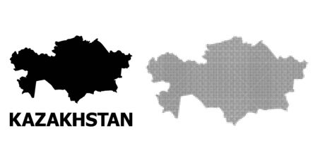 Halftone and solid map of Kazakhstan composition illustration. Vector map of Kazakhstan composition of x-cross elements on a white background.