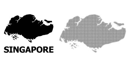 Halftone and solid map of Singapore mosaic illustration. Vector map of Singapore composition of x-cross spots on a white background. Abstract flat territory scheme for political templates.