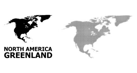 Halftone and solid map of North America and Greenland composition illustration. Vector map of North America and Greenland combination of x-cross elements on a white background.
