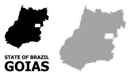 Halftone and solid map of Goias State mosaic illustration. Vector map of Goias State composition of x-cross items on a white background. Abstract flat territory plan for education illustrations.