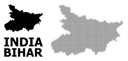 Halftone and solid map of Bihar State composition illustration. Vector map of Bihar State composition of x-cross elements on a white background. Abstract flat geographic plan for political purposes.