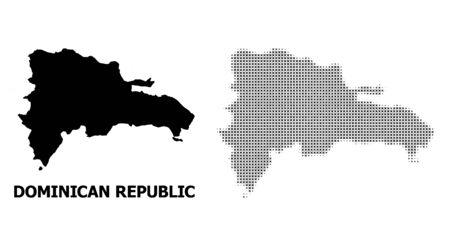 Halftone and solid map of Dominican Republic composition illustration. Vector map of Dominican Republic composition of x-cross items on a white background. Vektoros illusztráció