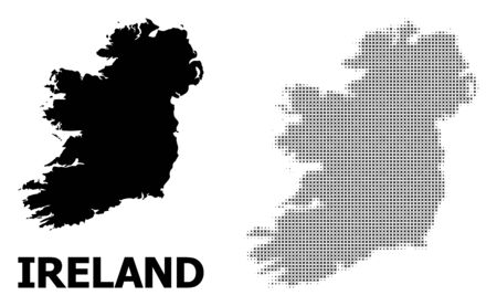 Halftone and solid map of Ireland Island composition illustration. Vector map of Ireland Island composition of x-cross elements on a white background. Иллюстрация
