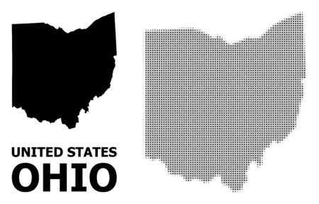 Halftone and solid map of Ohio State composition illustration. Vector map of Ohio State composition of x-cross elements on a white background. 向量圖像