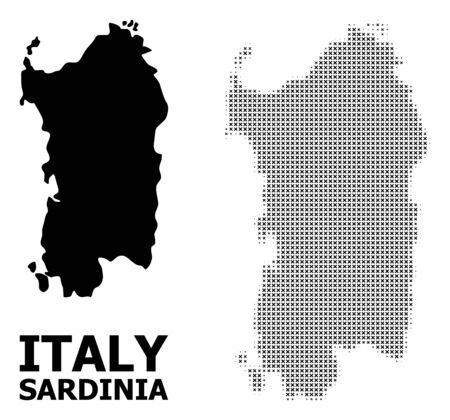 Halftone and solid map of Sardinia region collage illustration. Vector map of Sardinia region combination of x-cross elements on a white background. Ilustração