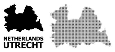 Halftone and solid map of Utrecht Province composition illustration. Vector map of Utrecht Province composition of x-cross items on a white background.