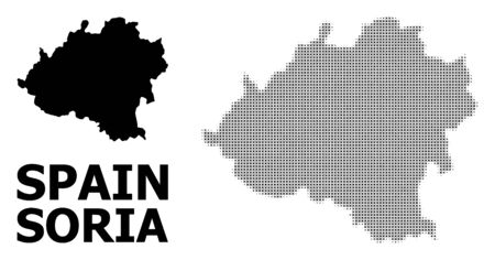 Halftone and solid map of Soria Province composition illustration. Vector map of Soria Province composition of x-cross elements on a white background. Иллюстрация