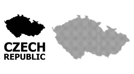 Halftone and solid map of Czech Republic composition illustration. Vector map of Czech Republic composition of x-cross items on a white background. Imagens - 127202134