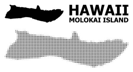 Halftone and solid map of Molokai Island composition illustration. Vector map of Molokai Island composition of x-cross items on a white background.