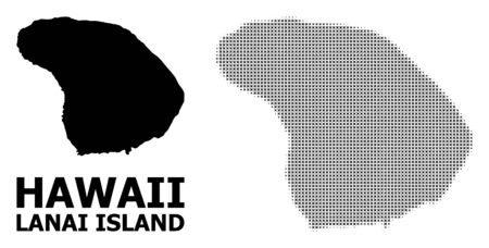 Halftone and solid map of Lanai Island composition illustration. Vector map of Lanai Island composition of x-cross elements on a white background.