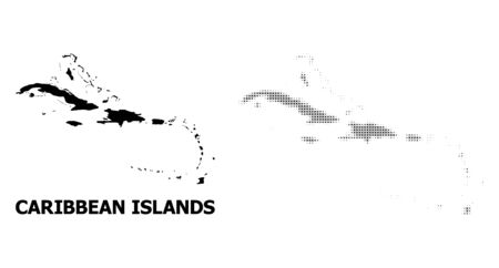 Halftone and solid map of Caribbean Islands mosaic illustration. Vector map of Caribbean Islands combination of x-cross items on a white background.