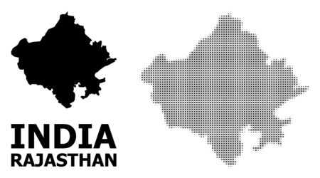 Halftone and solid map of Rajasthan State composition illustration. Vector map of Rajasthan State composition of x-cross elements on a white background. 스톡 콘텐츠 - 127202223
