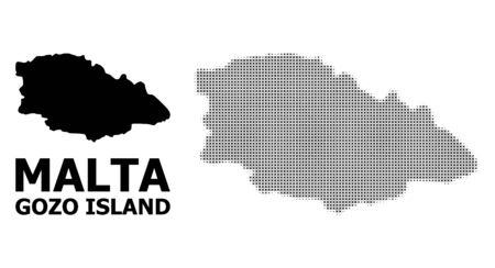Halftone and solid map of Gozo Island composition illustration. Vector map of Gozo Island composition of x-cross items on a white background. Abstract flat territory scheme for political templates.