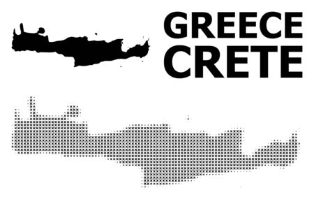 Halftone and solid map of Crete Island composition illustration. Vector map of Crete Island composition of x-cross items on a white background. Abstract flat territory plan for education purposes.