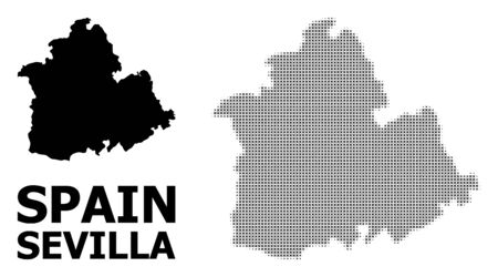 Halftone and solid map of Sevilla Province composition illustration. Vector map of Sevilla Province composition of x-cross spots on a white background.