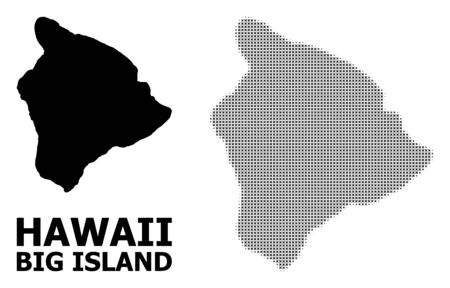 Halftone and solid map of Hawaii Big Island composition illustration. Vector map of Hawaii Big Island composition of x-cross elements on a white background. Illustration