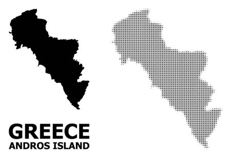 Halftone and solid map of Greece - Andros Island composition illustration. Vector map of Greece - Andros Island composition of x-cross elements on a white background.