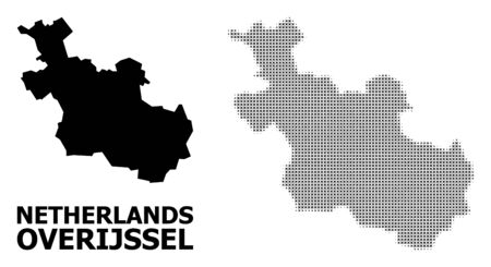 Halftone and solid map of Overijssel Province composition illustration. Vector map of Overijssel Province composition of x-cross spots on a white background.