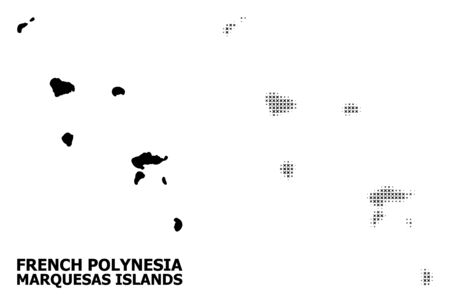 Halftone and solid map of Marquesas Islands composition illustration. Vector map of Marquesas Islands composition of x-cross items on a white background. Illustration