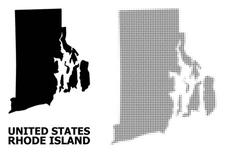 Halftone and solid map of Rhode Island State composition illustration. Vector map of Rhode Island State composition of x-cross elements on a white background.