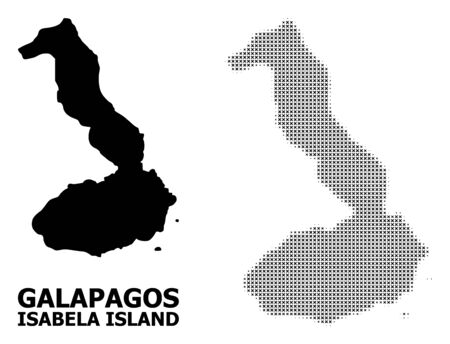 Halftone and solid map of Galapagos - Isabela Island collage illustration. Vector map of Galapagos - Isabela Island composition of x-cross items on a white background.