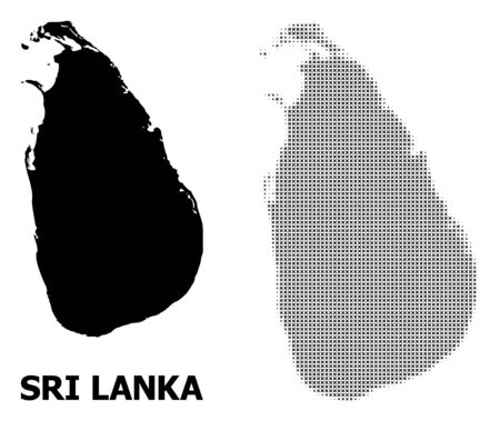 Halftone and solid map of Sri Lanka composition illustration. Vector map of Sri Lanka composition of x-cross items on a white background. Abstract flat territory scheme for political purposes.