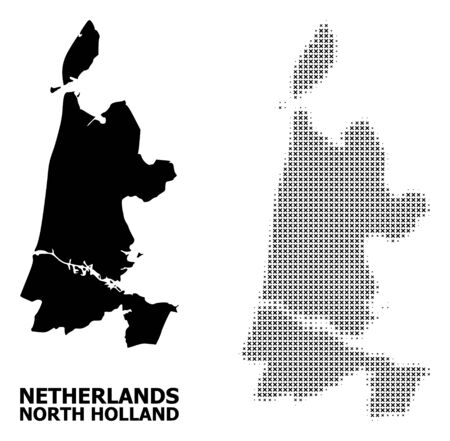 Halftone and solid map of North Holland composition illustration. Vector map of North Holland composition of x-cross items on a white background. Stock Illustratie
