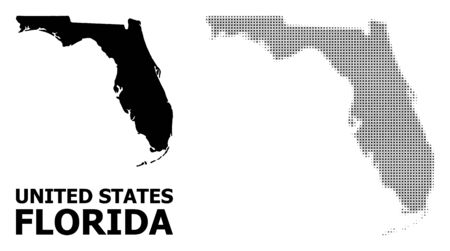 Halftone and solid map of Florida State composition illustration. Vector map of Florida State combination of x-cross items on a white background. Illustration