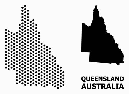 Dotted map of Australian Queensland composition and solid illustration. Vector map of Australian Queensland composition of circle dots with hexagonal periodic order on a white background.