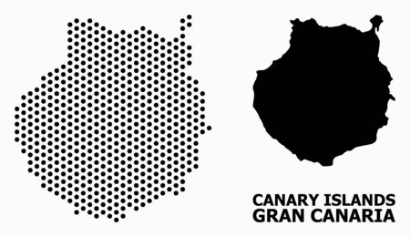 Dot map of Gran Canaria composition and solid illustration. Vector map of Gran Canaria combination of sphere items with honeycomb geometric pattern on a white background.
