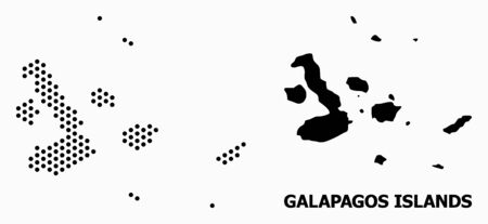 Dotted map of Galapagos Islands composition and solid illustration. Vector map of Galapagos Islands composition of circle points with honeycomb geometric pattern on a white background.