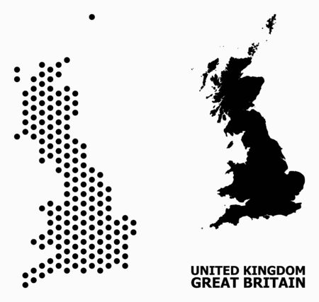 Pixelated map of Great Britain collage and solid illustration. Vector map of Great Britain composition of spheric elements with honeycomb periodic pattern on a white background.