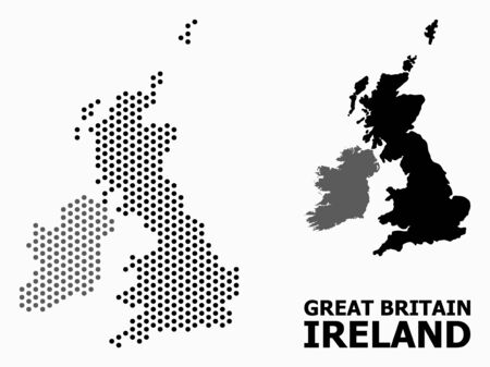 Pixel map of Great Britain and Ireland composition and solid illustration. Vector map of Great Britain and Ireland composition of round pixels with hexagonal geometric array on a white background.