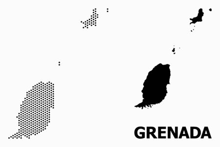 Pixel map of Grenada Islands composition and solid illustration. Vector map of Grenada Islands composition of circle items with hexagonal geometric order on a white background.  イラスト・ベクター素材
