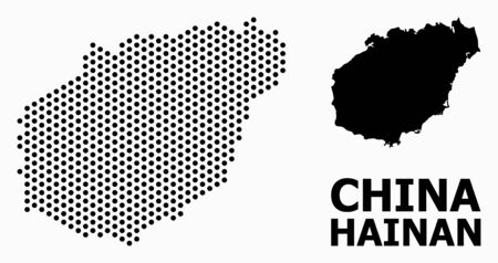 Pixelated map of Hainan Island collage and solid illustration. Vector map of Hainan Island composition of circle items with honeycomb periodic pattern on a white background.