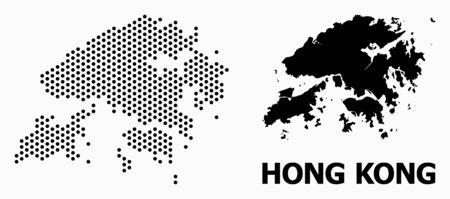 Dotted map of Hong Kong composition and solid illustration. Vector map of Hong Kong composition of spheric pixels with honeycomb geometric order on a white background.