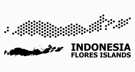 Pixel map of Indonesia - Flores Islands composition and solid illustration. Vector map of Indonesia - Flores Islands composition of circle spots with honeycomb periodic array on a white background.  イラスト・ベクター素材