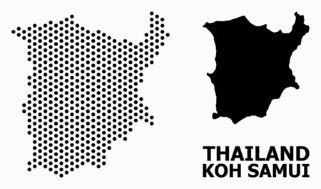 Pixelated map of Koh Samui composition and solid illustration. Vector map of Koh Samui composition of circle pixels with hexagonal periodic order on a white background.  イラスト・ベクター素材