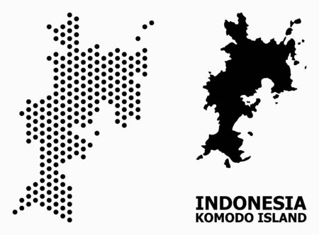 Dot map of Komodo Island composition and solid illustration. Vector map of Komodo Island composition of sphere items with hexagonal periodic array on a white background.  イラスト・ベクター素材