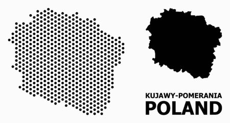 Dot map of Kujawy-Pomerania Province composition and solid illustration. Vector map of Kujawy-Pomerania Province composition of round dots with honeycomb periodic array on a white background.