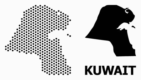 Dot map of Kuwait mosaic and solid illustration. Vector map of Kuwait combination of circle elements with honeycomb geometric order on a white background.