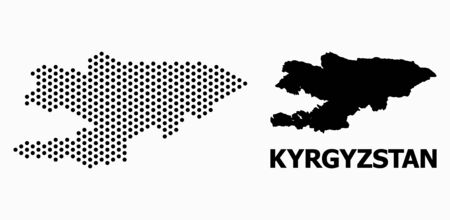 Dotted map of Kyrgyzstan composition and solid illustration. Vector map of Kyrgyzstan composition of round pixels with hexagonal periodic order on a white background.  イラスト・ベクター素材