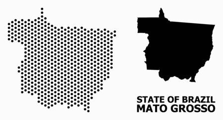 Pixel map of Mato Grosso State composition and solid illustration. Vector map of Mato Grosso State composition of round elements with hexagonal geometric array on a white background.