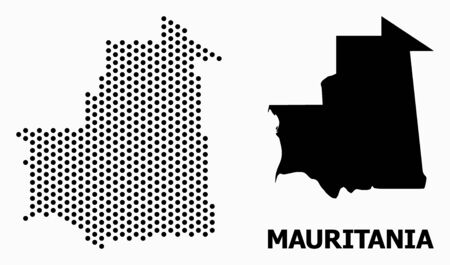 Dotted map of Mauritania composition and solid illustration. Vector map of Mauritania composition of spheric points with hexagonal periodic array on a white background.