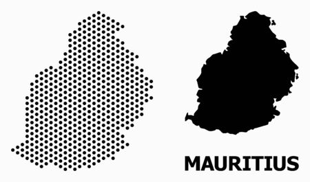 Dotted map of Mauritius Island composition and solid illustration. Vector map of Mauritius Island composition of circle elements with hexagonal geometric pattern on a white background.